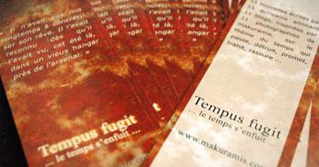 marque page du livre de photographies et nouvelles Tempus Fugit de makuramis